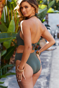 Anemone Olive Deep V Cutout One Piece Swimsuit image