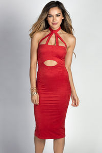 """""""Shari"""" Cherry Red Ultrasuede Cut Out Halter Midi Dress image"""