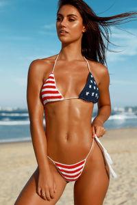 Red White & Blue Bikini Bottom image
