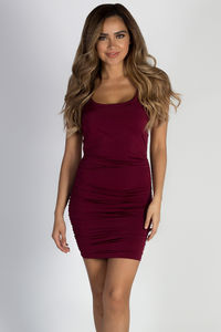 """""""Read Receipts"""" Burgundy Cross Back Strappy Ruched Dress image"""