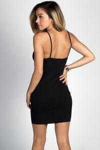 """Margaux"" Black Strappy Lattice Cut Out Bustier Mini Dress image"