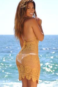 Freesia Gold Center Sun Scalloped Crochet Beach Cover Up image