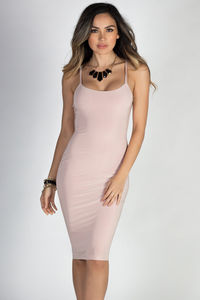 """Effortless Beauty"" Blush Spaghetti Strap Bodycon Midi Dress image"