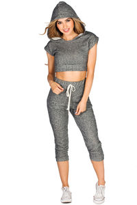 """Jayne"" Charcoal Gray Crop Top Hoodie & Capri Jogger Set image"