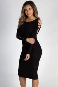 """""""Holding On"""" Black Lace Up Sleeve Sweater Dress image"""