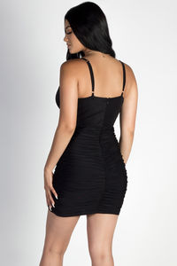 """Past Midnight"" Black Plunging Neckline Ruched Bodycon Dress image"
