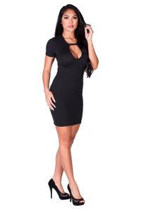 """Zanna"" Black Keyhole Cut Out Short Sleeve T Shirt Dress image"