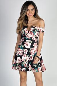 """""""My Girl"""" Black Floral Sexy Notch Neckline Off Shoulder Skater Dress image"""