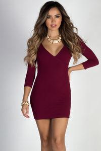 """""""Lover's Heart"""" Burgundy 3/4 Sleeve V Neck Mini Dress image"""