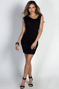 """Freida"" Black Asymmetrical Ruched Jersey Dress image"