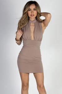 """On The List"" Taupe Sleeveless Deep V Choker Dress image"