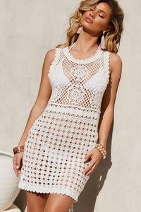 Seashell Ivory Crochet Beach Dress Cover Up image