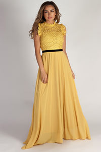 """Blissful Beauty"" Mustard High Neck Crochet Lace Maxi Dress image"