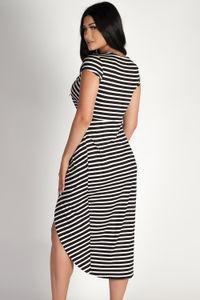 """All Mine"" Black and White Striped Deep V-Neck Dress image"