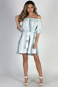 """""""Happy"""" Sky Blue Stripe Off Shoulder Dress image"""