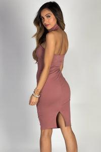 """Glamazon"" Mauve Bodycon Choker Collar Midi Cocktail Dress image"
