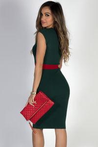 """Under the Mistletoe"" Green & Red V Neck Midi Sweater Dress image"