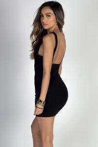 """You Love Me"" Black Deep V Bodycon Cut Out Mini Dress image"