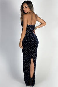 """Masquerade"" Navy & Silver Diamond Pattern Strapless Velvet Maxi Gown image"