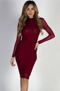 """Sheer Instinct"" Burgundy See Through Mesh Long Sleeve Dress image"