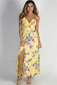 """""""Paradise Perfection"""" Yellow Floral Racer Back Maxi Dress image"""