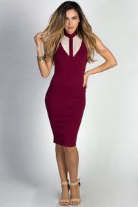 """Paulette"" Burgundy Sleeveless Mockneck Nude Cut Out Dress image"