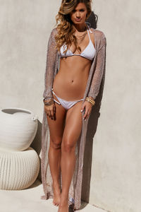 Chevron Rose Gold Metallic Crochet Long Sleeve Maxi Cover Up image