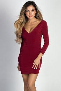 """Beatrix"" Burgundy 3/4 Sleeve Deep V Strappy Open Back Mini Dress image"