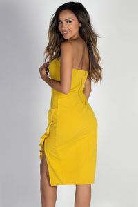 """""""Sway with Me"""" Yellow Ruffle Accent Strapless Sweetheart Cocktail Dress image"""