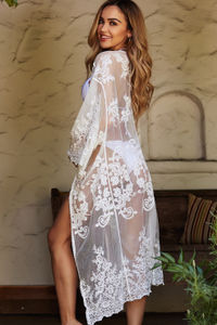 Fiery Empress White Floral Lace Kimono Beach Cover Up image
