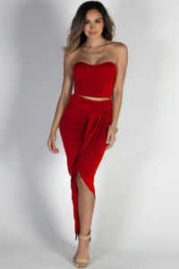 """""""Isadora"""" Red Strapless Cut Out Draped Maxi Dress image"""