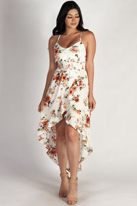 """Don't Tell Nobody"" Ivory Ruffled Floral Dress image"