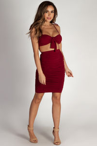 """Out Of Love"" Burgundy Two Piece Bandeau & Ruched Skirt Set image"