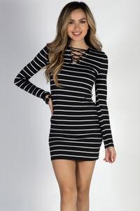 """You Had Me"" Black & White Striped Crisscross Long Sleeve Mini Dress image"