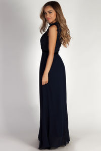 """Blissful Beauty"" Navy High Neck Crochet Lace Maxi Dress image"