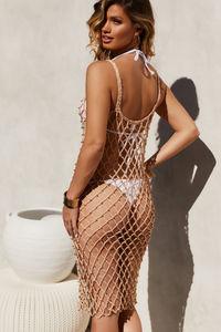 Pearl Jam Mocha Crochet Beaded Dress Cover Up image