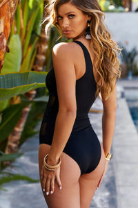 Foxglove Black Sheer One Shoulder One Piece image