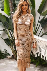 Catania Tan Crochet Midi Dress Cover Up image