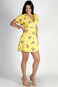 """Hillside"" Yellow Floral Crepe Wrap Dress image"