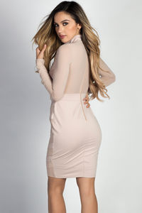 """Chastity"" Taupe Mockneck Long Sleeve Chevron Mesh Cut Out Dress image"