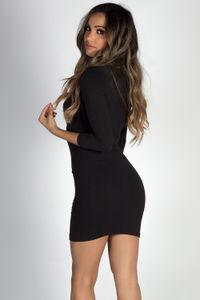 """""""Lover's Heart"""" Black 3/4 Sleeve V Neck Mini Dress image"""