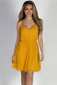 """Give Me Butterflies"" Mustard Strappy Chiffon Print Dress image"