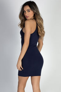 """Private Dancer"" Navy High Neck Halter Racerback Mini Dress image"