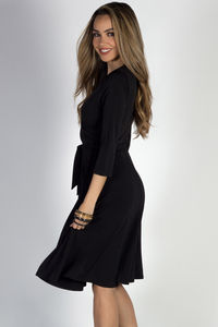 """Well Dressed"" Black 3/4 Sleeve A Line Wrap Dress image"