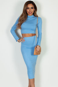 """No Days Off"" Light Blue Long Sleeve Crop Top And Midi Skirt image"