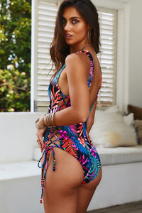 Kandy Black Tropical Side Lace Up One Piece Swimsuit image