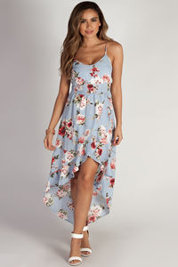 """Don't Tell Nobody"" Carolina Blue Ruffled Floral Dress image"
