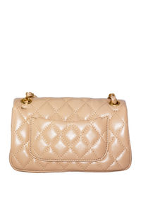 Tan Vegan Leather Diamond Stitch Handbag image