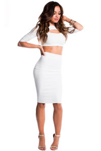 """Cassie"" White Key Hole Cut Out 3 Sleeve Two Piece Midi Crop Top Dress image"