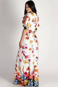 """Too Good To You"" White Open-Sleeve Floral Maxi Dress  image"